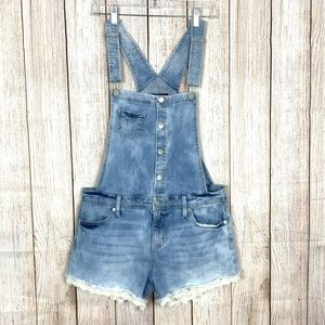 Mossimo Overall Shorts Blue Light Wash